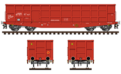 Side and front view of open-top Eaos wagon with side bords.