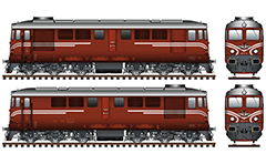 Vector illustration with six axle diesel-electric locomotive built in Craiova, Romania under Swiss license. The machine is known as designation serie 06 in the Bulgarian State Railways. They are designed for a maximum speed of 100 kmph and mainly to serve freight trains. EDITORIAL USE