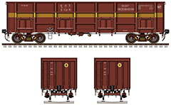 "Gondola car type ""BOST"" used by Indian heavy industry. Designed mainly for transport of steel products - steel coils, rebar and scrap metal. He has a greater length as compared to ordinary type gondolas BOXN and fitted with high-speed bogies Casnub. Freight Indian trains. EDITORIAL USE"