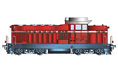 Vector image with side view of Bulgarian diesel-hydraulic locomotive LDH 125 - the most widespread diesel engines in Bulgarian State Railways. Mainly used for ordinary and heavy shunting work. Their design and technical parameters allow service freight, passenger and express trains.