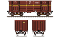 Gondola car BOXNHS type used in Indian Railways. Cargo wagons designed mainly for transportation of coal, limestone, ore and steel products which does not require protection from rain. 