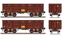 "Side and front view of open-top wagon ""BOXNAL"" fitted with a Casnub bogie air brake system.
