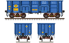 "Side and front view of open wagon type ""BOXNHL-NBC"" part from freight rolling stock of Indian Railways. Wagon for transportation of products which does not require protection from rain. Details - CBC couplers, twin pipe air brake system, high-speed bogies CASNUB and inscriptions. EDITORIAL USE"