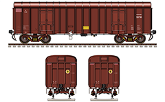 "Side and front view of covered freight wagon ""BCNAHS"". This variant is modified version of the standard wagon BCNA equipped with CASNUB 22HS high-speed bogies. Distinctive signs - patch in red-white horizontal stripes showing for maximum permitted high speed. EDITORIAL USE"