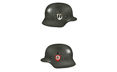 Side view of military steel helmet from Second World War. Colors and insignia of  troops of Waffen-SS who involved in the fighting on the Eastern front. Right view shows emblem with black runic symbols over white shield. On left side is depicts the logo of the Nazi Party- red shield with a white circle and a swastika inside.