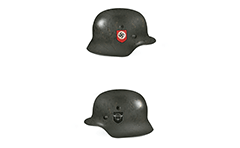 Side views of steel helmet used by the German field police units during WW2.