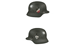 Nazi dark green helmet used by land forces of German army during the World War II. Double decals insignia. On right side have an imperial shield in black, white and red. On left side view is shown stylized imperial eagle who has grabbed swastika. Eastern front, 1943.