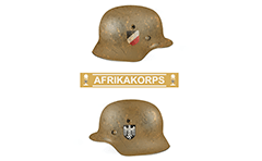 Vector illustration of Nazi helmet model M35 painted in sand color and used by DAK - Deutsches Afrika Korps. Classic insignia decals of Wehrmacht on both sides of helmet- imperial flag and eagle. Palm tree and swastika - The Nazi symbol of North African campaign from 1941 to 1943 during WW II.