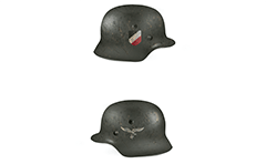 "Vector illustration of Nazi helmet from World War II used by ground staff of German air forces. They were easily recognizable by the ""eagle with wings spread"" on left side of helmet. On right side have a tricolour national coat colored in black, white and red."
