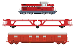 Vector illustration of train set of a diesel-hydraulic locomotive and two freight wagons. The machine is known as LDH125 in Romania, used by CFR , the state railway of Romania and serie 55 in Bulgaria, used by Bulgarian State Railways - BDZ. The collection contains wagon Laees type designed for the transport of cars, and covered boxcar Gabs type used for the carriage of packed and other goods requiring protection against atmospheric impact. Colored drawing of isolated objects over white background.