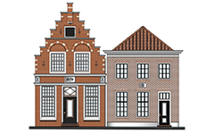 Two Dutch canal houses. Left facade have a wall in style step gables. Behind the wall is located a dual pitched roof. At the top of the building have a single window that serves as entrance for the transfer of cargo from the winch over it. Both houses have a visible brickwork and shaped fugues.