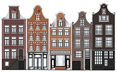 Facades of canal houses from capital of Netherlands. Buildings in the Dutch capital usually have a basement for storage a goods and serve to prevention of flooding. They are slim, long in depth, high and have a narrow stairways.