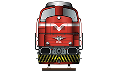 IMPORTANT: EDITORIAL USE ONLY! Vector illustration of front view of shunting diesel locomotive LDH 125. Drawing created  