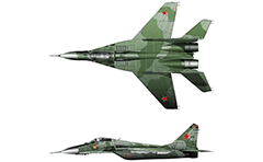 "Vector illustration of Soviet (Russian) multipurpose aircraft  Mikoyan and Gurevich. By standards of NATO is named ""Fulcrum"". Top and side view - green camouflage scheme and insignia of Air Forces of Soviet union. On fuselage of left board below the cockpit is painted sign ""Guard USSR""."