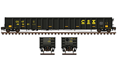 Side and front view with long railroad car for carriage of iron and steel products- plates, scrap steel, metal pipes, structural steel, waste and others. Reporting mark CSX Transportation. Black paint scheme with yellow CSX lettering and all technical inscriptions in English. EDITORIAL USE
