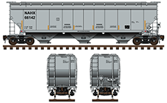Hopper car with capacity 5 200 cubic feet for carriage of bulk cargo - sugar, grain, fertilizer, dry chemicals and other similar products. Side and front view with all technical parameters, instructions for safe handling and hand brake. Reporting mark NAHX - General Electric Rail Service. EDITORIAL USE