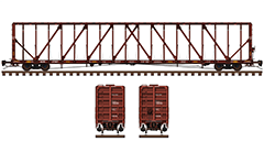 Side and front view with 73 feet long flat car for transport of packaged lumber and other construction products. The deck is canted without floor risers. Reporting mark Arkansas–Oklahoma Railroad. EDITORIAL USE