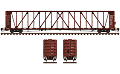 Side and front view of orthogonal centerbeam railcar designed for transportation of packaged lumber, plasterboards and other construction products with increasing safety. Car has a length 73 feet measured between bulkheads. Details - all technical parameters, designations and instructions for safe handling, air hoses, levers and hand brake.