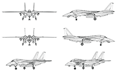 Vector drawing with wire model of contemporary military airplane. Side, front, back and axonometric view. Three-dimensional polygonal design. Transparent vector graphic.