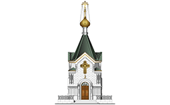 Vector illustration of classic Russian Orthodox temple. Main facade view with stairs, metal railing, entrance, walls and columns, green roof, shining gold onion dome and Eastern Orthodox gold cross -  with three horizontal crossbeams, known as the Suppedaneum cross.