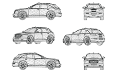Wire vector model of modern jeep designed and manufactured in Japan. The crossover has four doors, sharp handling and a throaty V8 engine. Front, rear, side and axonometric view. Three-dimensional polygonal design.