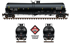 Railroad tank car with US designation DOT 111A100W3 used by the North American Railways - specification for a non-pressurized rail cistern. In Canada are called CTC-111A. Details - bogies, couplers, air hoses, placard with number 1267, head shields, stairs and all technical inscriptions. Side and front view.