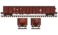 IMPORTANT: EDITORIAL USE ONLY!  Vector illustration of open-topped car Mill Gondola type for the transport of iron and steel products- plates, scrap steel, metal pipes, structural steel, waste and others. Used as freight rolling stock primarily in North America and particularly in Canadian and American railways. Shown are side and front views, with all technical parameters, inscriptions, hand brake and Union Pacific's shield brand logo.  The rails are drawn schematically and not colored. Isolated objects over white background.