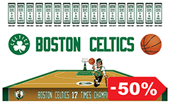 Vector illustration for basketball team of Boston Celtics, who holds the record for most titles won in NBA - 17 championships.