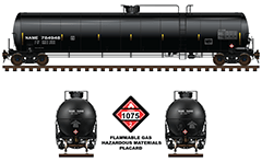 Railroad tank car with designation DOT 112J340W used by American railways. Class DOT-112 allow carriage of pressurized gases and top loading. Cistern have a various safety systems and fittings to protect reservoir from damage during an accident. Side and front view.