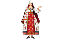Young woman in traditional folk costume from Southwest Bulgaria. The region is known as Pirin Macedonia. Ethno motifs and classical Bulgarian embroidery.