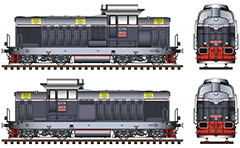 Side and front view of Romanian diesel locomotive LDH 125. Classic light-dark gray livery with white stripe of Căile Ferate Române. High-quality technical illustration with all details and inscriptions. EDITORIAL USE