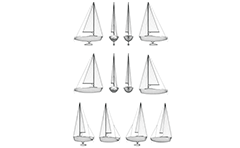 Created with computer wireframe design of motor boat. Vector illustration with front, side and back views. 