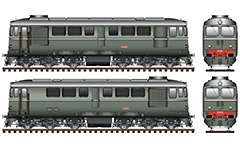 Vector image of six axle diesel-electric locomotive built in Craiova, Romania under Swiss license. The machine is known as CFR class 060 of the State Railways of Romania  and with designation serie 06 in the Bulgarian State Railways. Originally is registered under the series 060-DA. They are designed for a maximum speed of 100 kmph and mainly to serve freight trains. Similar locomotives also operate in Polish and Chinese railway administrations. High detailed vector design with air brake hoses, buffers, inscriptions for technical parameters, bogies and headlights. Isolated objects over white background.