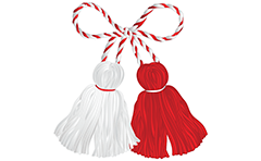 Classic Bulgarian Martenitsa Pizho and Penda made from white and red yarn. Day of Baba Marta begin from the first day on month March every year. Bulgarians give to each other martenitsa for health. Red and white tassels for beginning of spring.