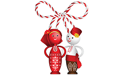 Vector illustration with wooden dolls Pizho and Penda dressed in traditional Bulgarian folklore costumes. Figures are tied with red-white martenitsa made of yarn. Traditional decorative souvenir made in Bulgaria.