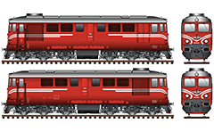 IMPORTANT: EDITORIAL USE ONLY! Vector image in High-Resolution of Bulgarian diesel-electric locomotive class 06-00. The main activity of this locomotive is to serve freight trains. Similar locomotives also operate in Romanian, Polish and Chinese railway administrations. High-detailed artwork with front and side views, serial number of machine, headlight, buffers, air hoses, hook, and stylized logo of BDZ with uppercase in Bulgarian language. Isolated objects over white background.