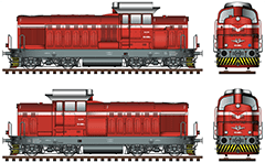 "IMPORTANT: EDITORIAL USE ONLY! Vector image in High-Resolution of Bulgarian diesel  shunting locomotive with logo and colors of Bulgarian State Railways.  These machines are manufactured in Romania, in Bucharest factory with name ""August 23"", by project and license of the Swiss company Sulzer AG.  These locomotives are designed for moderate shunting activity.  Sometimes service and passenger trains.  High-detailed artwork with front and side views, serial number of machine, all technical parameters and signs, big headlight, small  shunting headlight with blue glass, buffers, air hoses, hook, and stylized logo of BDZ with uppercase in Bulgarian language. Isolated objects over white background."