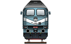 "IMPORTANT: EDITORIAL USE ONLY! Vector illustration of Bulgarian diesel locomotive Serie 07 with nickname ""The legendary Alyosha"". Detailed front view with headlight, air hoses, hook, white livery, buffers and the stylized logo of BDZ with uppercase in Bulgarian language. Similar locomotives are used today in Germany, the Czech Republic, Poland and Russia. Isolated object over white background."