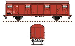 IMPORTANT: EDITORIAL USE ONLY! Vector illustration of Gedeckter Güterwagen Bauart Gbs 252 with logo of  former DB ( Deutsche Bundesbahn - German Federal Railway).  This closed van have two sliding doors and four ventilation openings on each side. The car is used for the carriage of packed and bulk materials that were vulnerable to the weather. Colored drawing with many details and inscriptions for technical parameters. Isolated objects over white background.