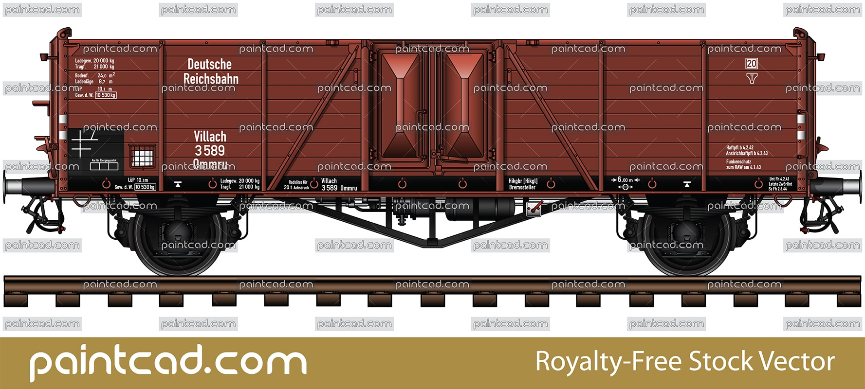 Vector illustration of open top wagon type Ommru for transport of bulk goods, coal, scrap, steel and wood. This type of cars are used for the carriage of goods that are relatively resistant to weather conditions. Manufactured en masse from 1939 to 1945 in Germany and was used for the needs of the Third Reich. Detailed and colored AutoCAD drawing with railway tracks, all technical parameters and markings. The wagon is with serial number 3 589 and name Villach, Deutsche Reichsbahn (German National Railway). Isolated object over white background.
