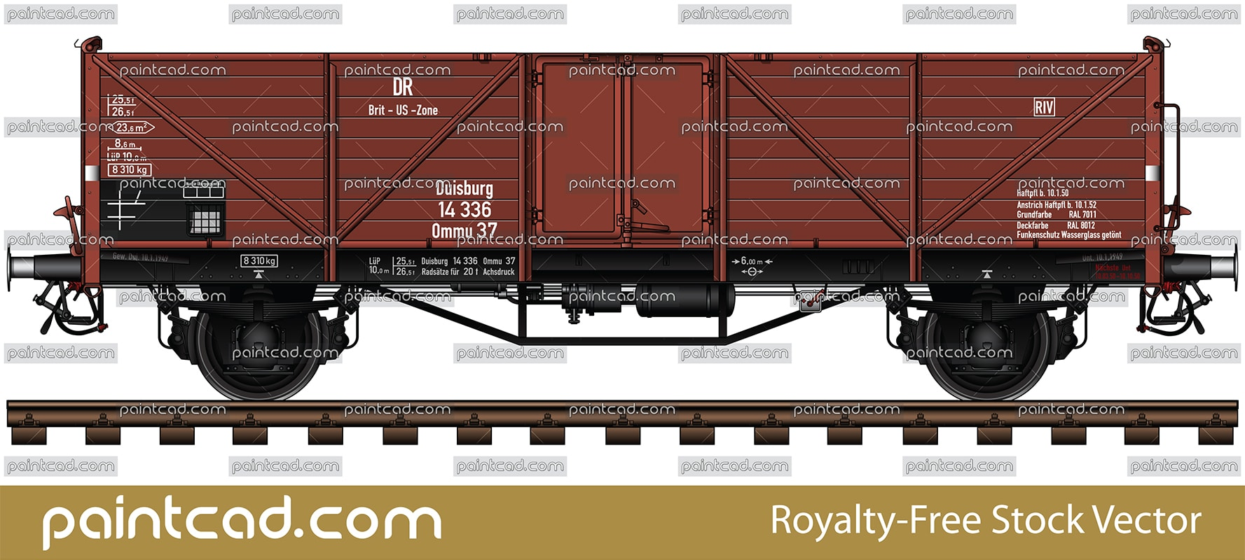 Vector illustration of gondola wagon Ommu 37 type for transport of bulk goods, coal, scrap, steel and wood. These cars are used for the carriage of goods that are relatively resistant to weather conditions. Side view of colored AutoCAD drawing with railway tracks, all technical parameters and markings. DR is the abbreviation of the German National Railway after World War II. The car was used by the German authorities in the area of English and American control after the division of Germany of zones of influence after the war (on left have an inscription DR, Brit-US Zone and Duisburg). Offener güterwagen. Isolated object over white background.