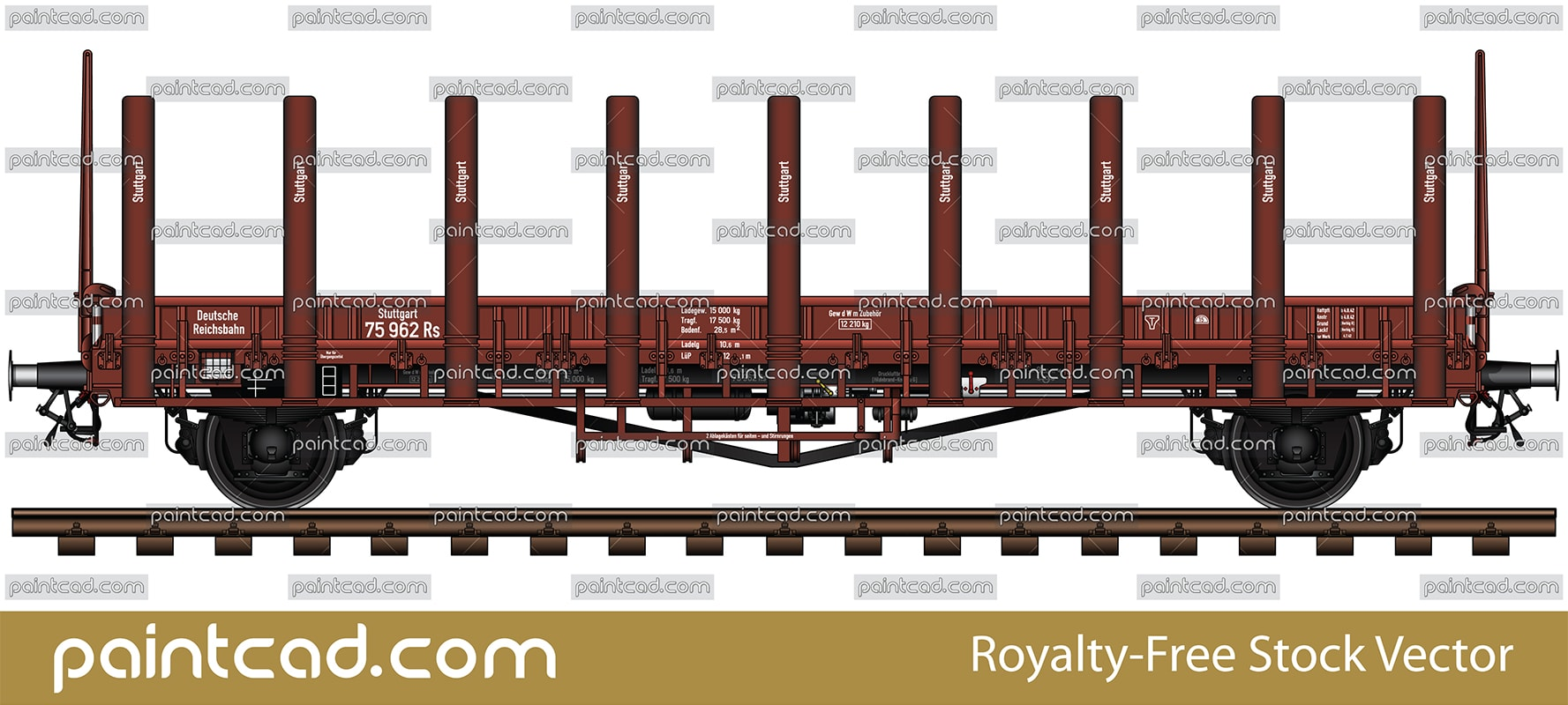 Vector illustration of flat goods wagon type (Rungenwagen Rs Stuttgart R 10) for transport of military vehicles and equipment, containers, steel and wood. These cars are used for the carriage of goods that are relatively resistant to weather conditions. They have metal vertical stanchions. Manufactured in Germany and was used for the needs of the Third Reich during the World War II. Colored and detailed AutoCAD drawing with railway tracks, all technical parameters, designations and markings. Isolated Güterwagen over white background.