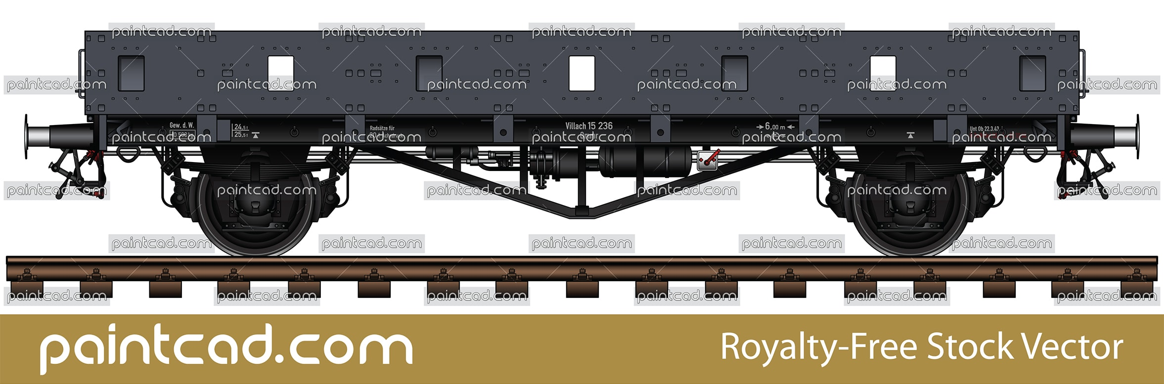 German military railway wagon Gondola type used by Wehrmacht - vector illustration