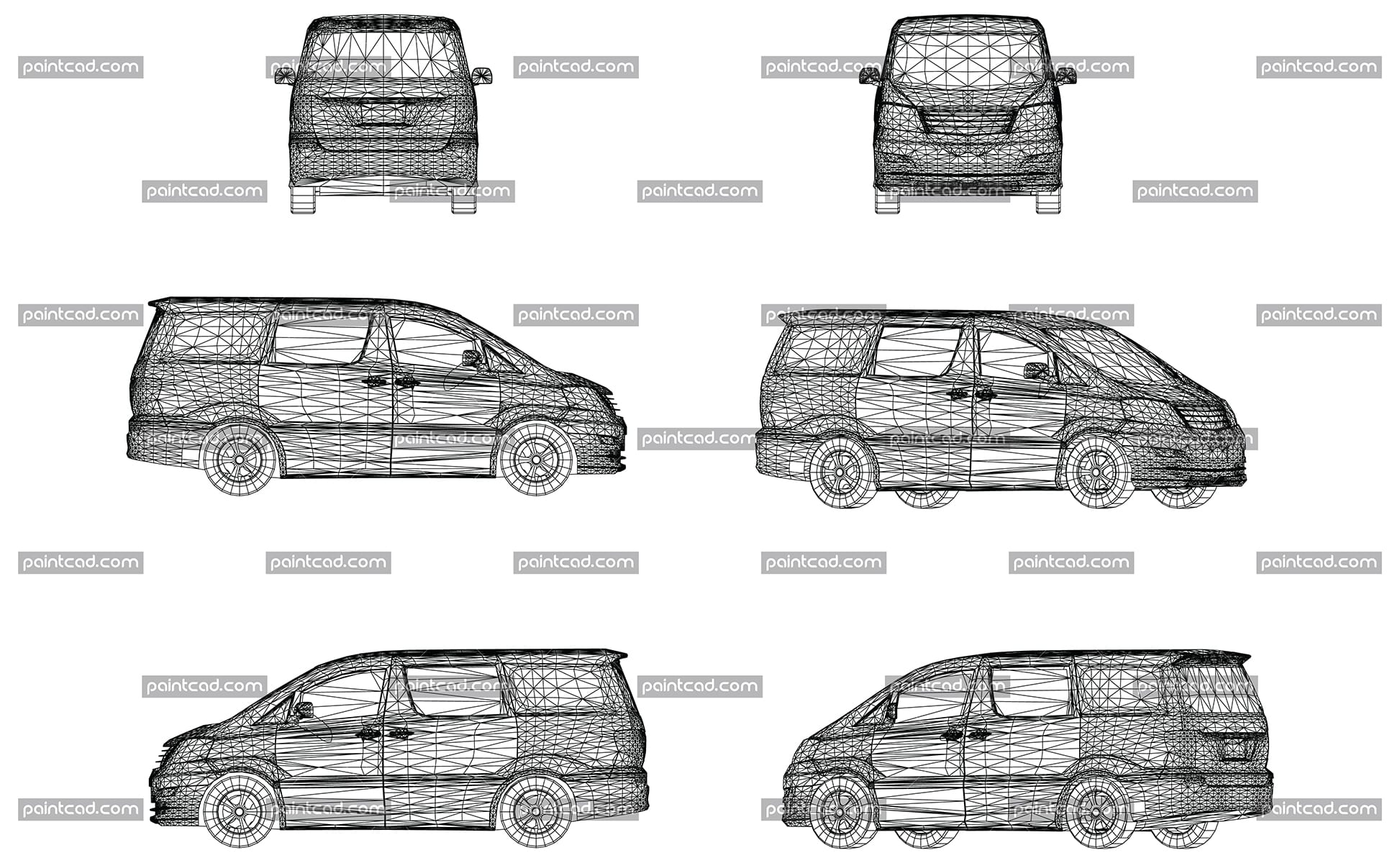 Wireframe design of modern vehicle van - vector illustration
