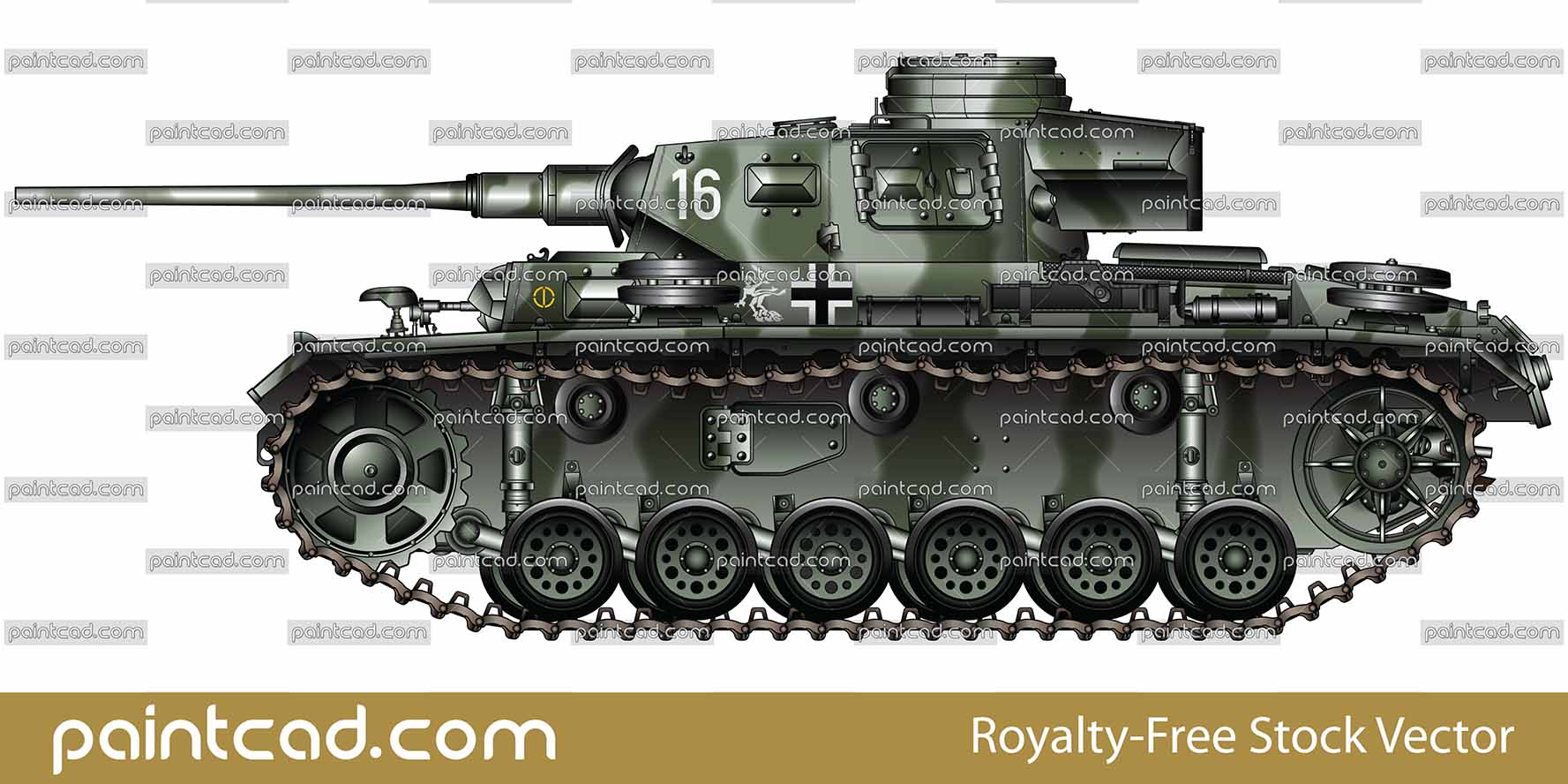 German medium tank Panzer III Ausf. J equipped with long gun - vector illustration