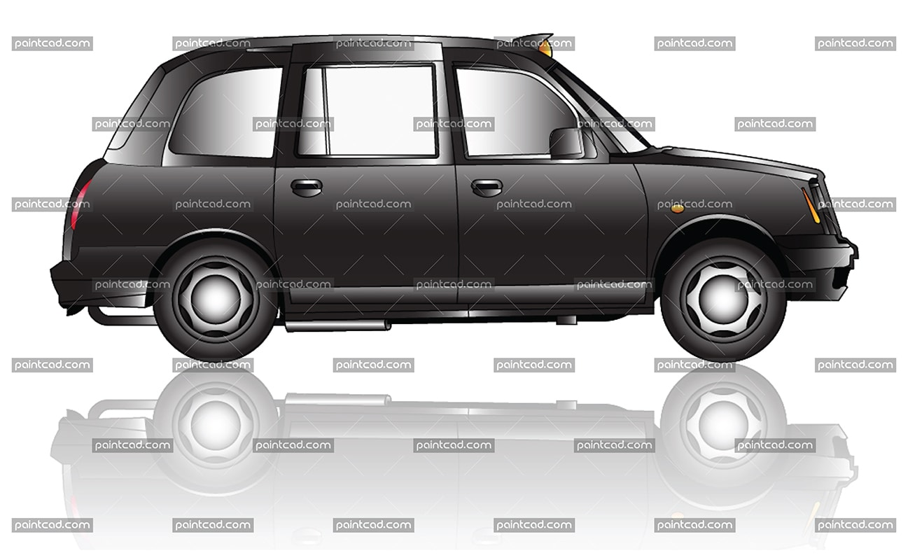 Vector illustration of Black Cab Taxi-  one of the symbols of London  and United Kingdom. The car is used for transportation services  type Hackney carriages. In Great Britain they are know as public transport vehicles which are licensed to use for hire. Isolated object over white background.