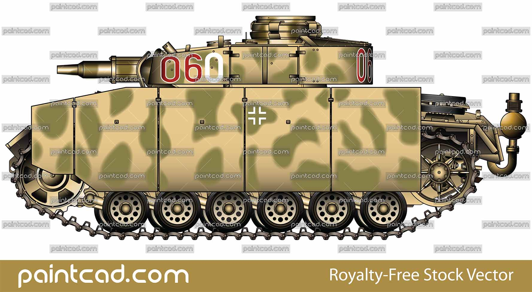 Vector illustration of Panzerkampfwagen III Ausführung M with short gun 75-mm howitzer from armoured 1st SS Panzer Panzergrenadier Division, July 1943. The machine was involved in hostilities during the World War II in summer 1943 on Eastern front in the Battle of Kursk. The tank is painted in yellow-green camouflage. Armor skirts (Schürzen in German language) are designed to provide protection primarily against Russian anti-tank rifles and low velocity high explosive rounds. They are made from steel plates. Excellent AutoCAD drawing colored with Adobe Illustrator CS6. Under the side panels in separate layers are all other elements of the tank. Isolated object over white background.