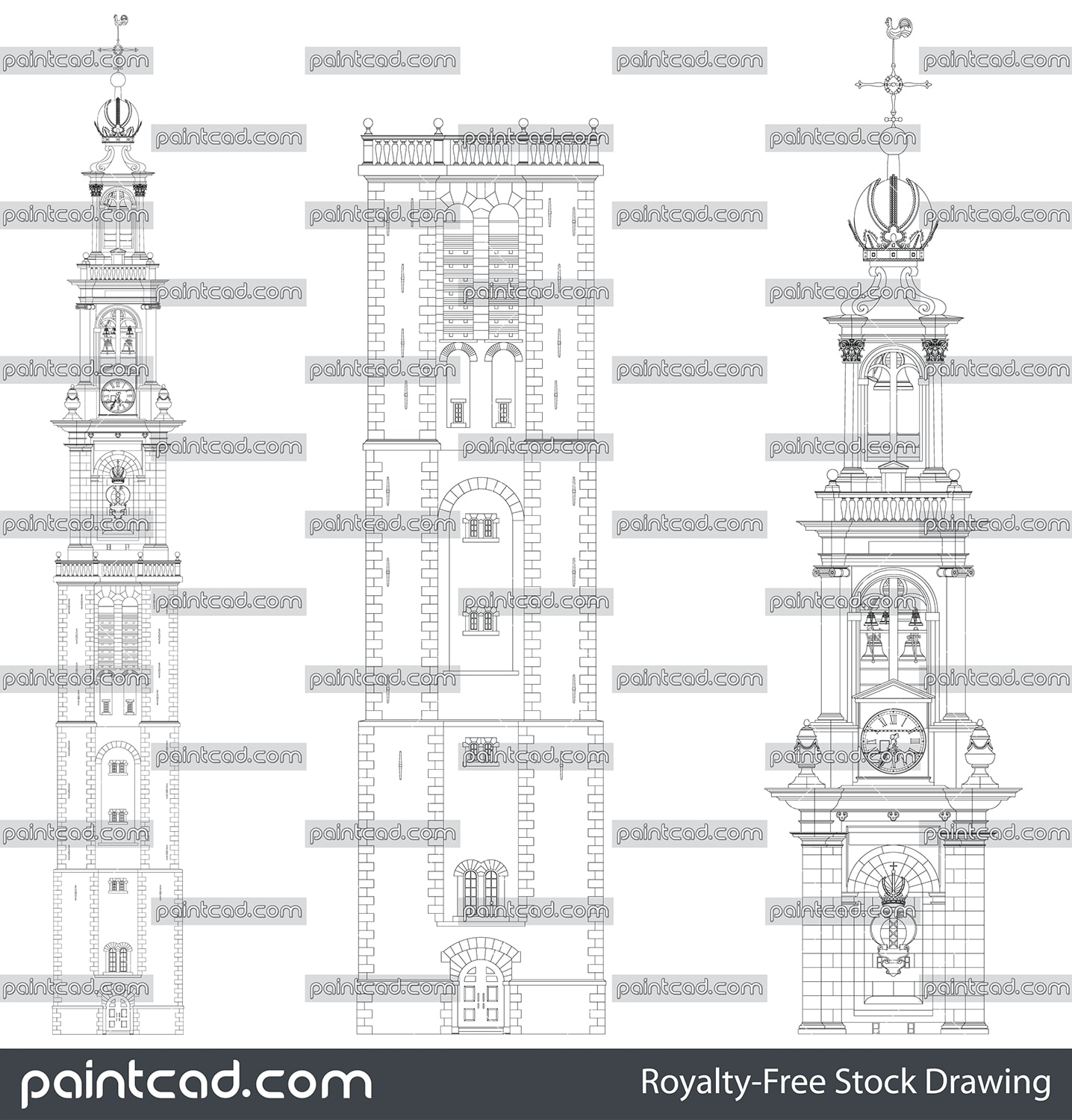 Westerkerk tower Amsterdam - draft of the entrance facade - vector illustration
