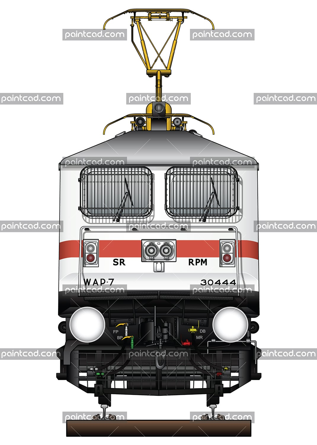 "IMPORTANT: EDITORIAL USE ONLY! Vector illustration with front view of high-speed electric locomotive WAP-7 used in Indian Railways to serve passenger trains. The engine is equipped with pantograph WBL-85 for high speeds, AAR tightlock couplers and chain link couplers. Abbreviation WAP-7 mean: W - Broad Gauge, A – AC electric traction, P – Passenger and ""7"" - the serial number of the modification of locomotive. Detailed color drawing with all technical inscriptions. Isolated object over white background."