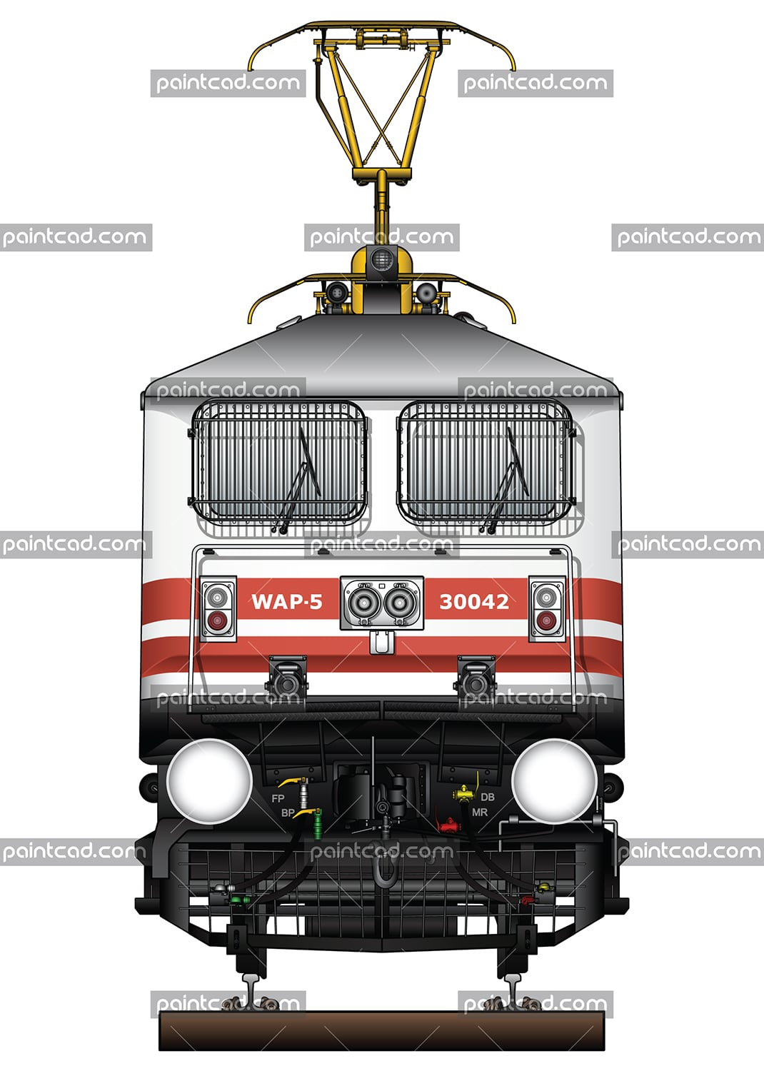 "IMPORTANT: EDITORIAL USE ONLY! Vector illustration with front view of high-speed electric locomotive WAP-5 used in Indian Railways to serve passenger express trains. The engine is equipped with pantograph WBL-85 for high speeds, AAR tightlock couplers and chain link couplers. Abbreviation WAP-5 mean: W - Broad Gauge, A – AC electric traction, P – Passenger and ""5"" - the serial number of the modification of locomotive. Detailed color drawing with all technical inscriptions. Isolated object over white background."